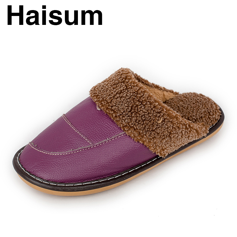 Ladies Slippers Winter Genuine Leather Thick With Plush Home Indoor Non-slip Thermal Slippers 2018 New Hot Sale Haisum Tb020 plush home slippers women winter indoor shoes couple slippers men waterproof home interior non slip warmth month pu leather