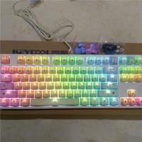 tenkeyless 87 mechanical keyboard rainbow PBT keycaps kailh mx brown blue TKL PS2 gaming keyboard white backlit