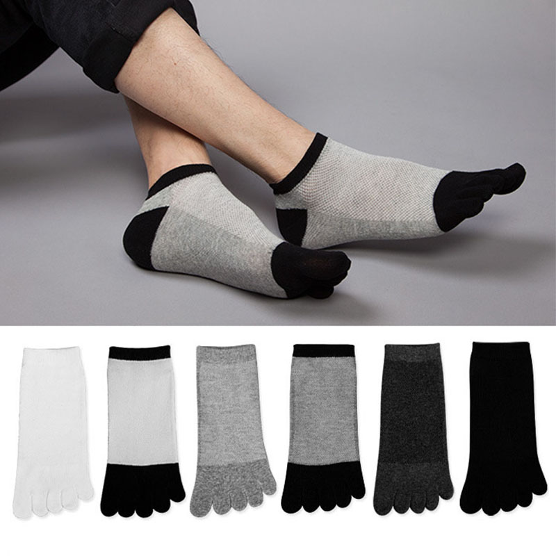 6 Pairs/lot Summer Mens Cotton Breathable Socks Men Patchwork Pure Color Socks with Toes Male Cozy Mesh Five Finger Socks