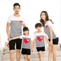 Family Matching Pajamas For Kids Mother And Daughter Clothes Love Striped Summer Short Sleeve T Shirt