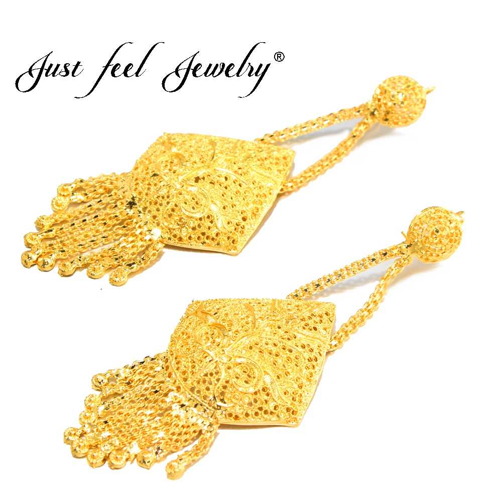 JUST FEEL New Dubai Gold Color Copper Plus Big Size Wedding Tassel Earring for Ethiopian/Arab/Inidan/Nigerian Women Jewelry Gift