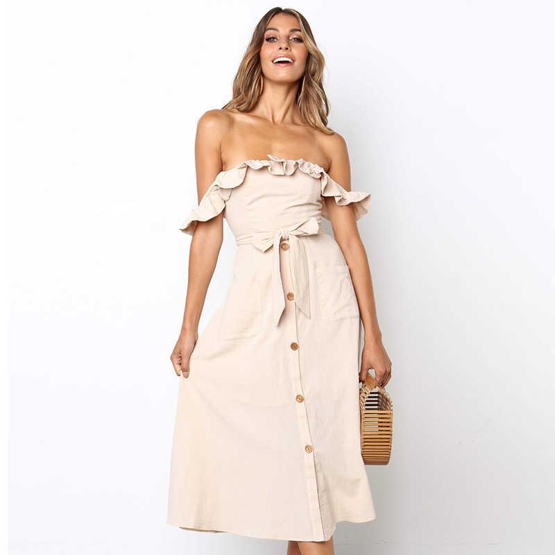 Повседневное с открытыми плечами розовое платье для женщин пикантные оборками Макси длинное пляжное летнее элегантные платья для женщин черный Вечеринка