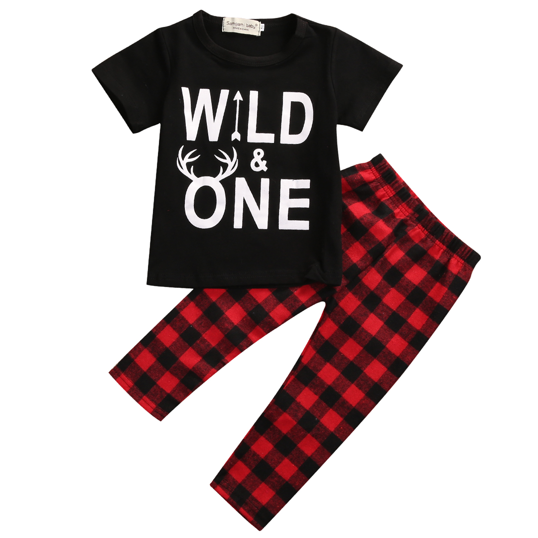 0 3Y Wild One Newborn Baby Boy Clothes Short Sleeve T shirt Top Red Plaid Pant