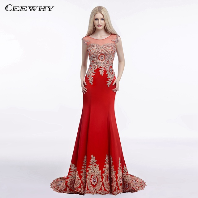 CEEWHY O-Neck Red Mermaid Dress Elegant Women Formal Dress Embroidery  Muslim Turkey Evening Dresses Beaded ProM Gowns Abiye 51adfcf14a94