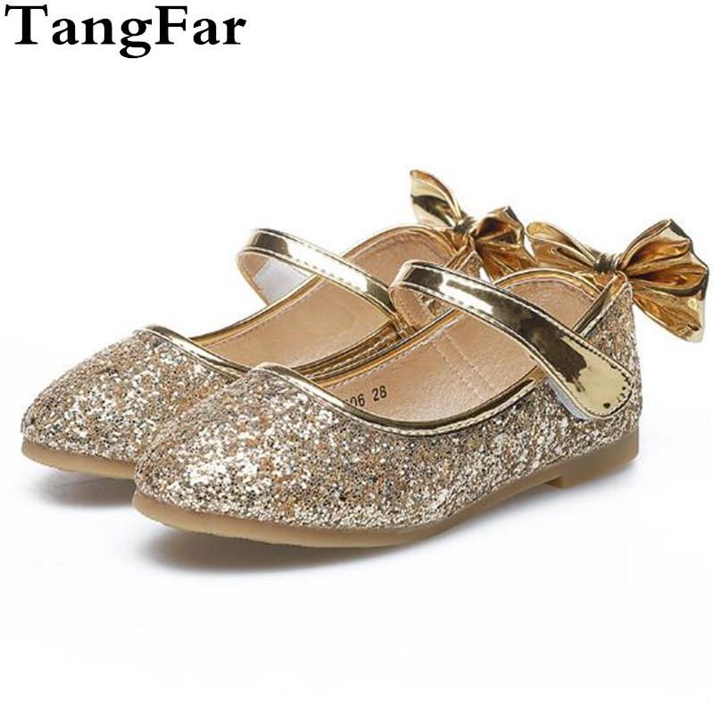 exquisite style official best authentic Girls Shoes Cute Causal Glitter Sequins Flats Leather Gold Toddler ...