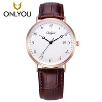 ONLYOU Womens Watches Arabic Number Watch Leather Quartz Ladies Watches Fashion Lover Watch Waterproof Display Date