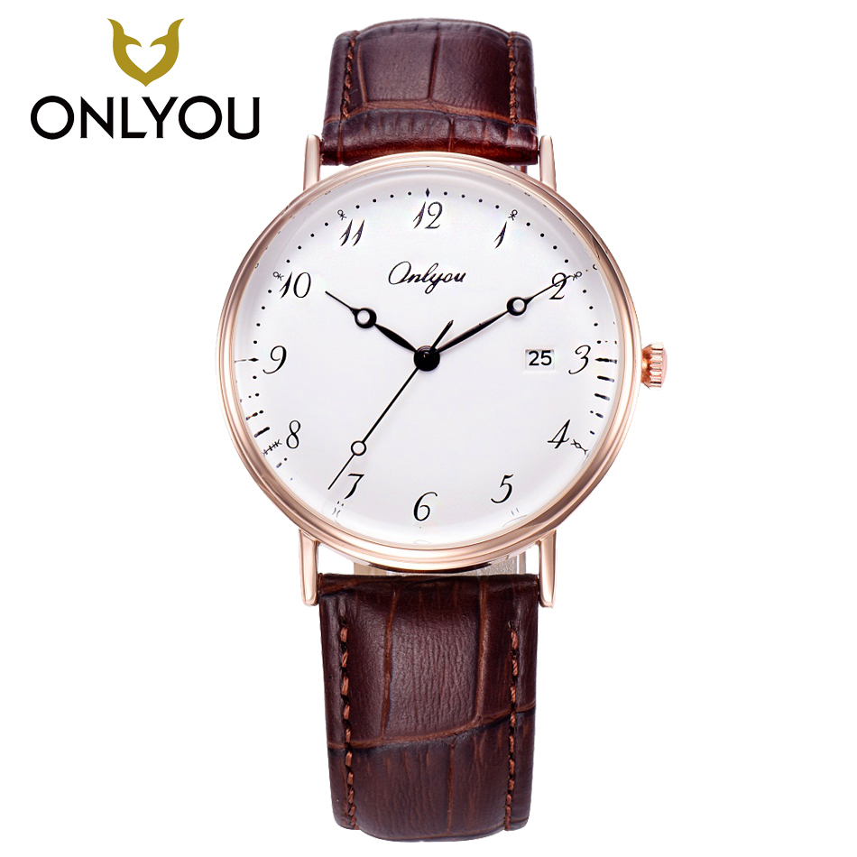 ONLYOUWomen Watches Arabic Number Watch Leather Quartz Men Watches contracted Lover Watch Waterproof Display Date relogio mascul