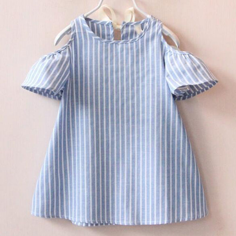 New summer dress girl O-neck striped girl dress casual short sleeve vestidos kids princess party dress blue baby girl clothes scarlett sc ek18p30 white green чайник