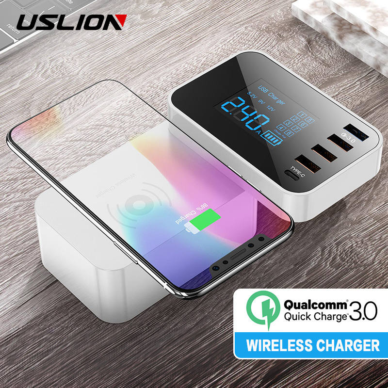 USLION Multi Wireless USB Charger 5 Ports LED Display Fast Usb Charging Station QC 3.0 Quick Charger for iPhone Samsung Adapter