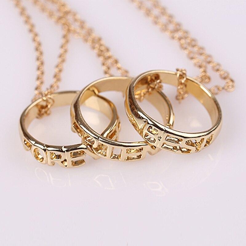 1Set/3PCs Best Friend Rings Pendant Necklace Women/Men Love Friendship Necklaces & Pendants Gold Color Fine Jewelry 45cm