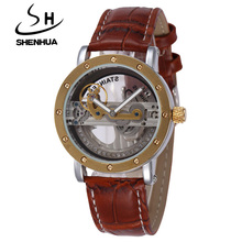SHENHUA Steampunk Clock Transparent Skeleton Automatic Mechanical Watches Men Dress Leather Strap Watches Relogio Masculino