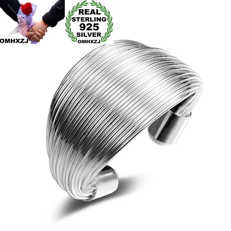 OMHXZJ Wholesale Personality Fashion OL Woman Girl Party Wedding Gift Silver Multi Lines Open 925 Sterling Silver Ring RN245