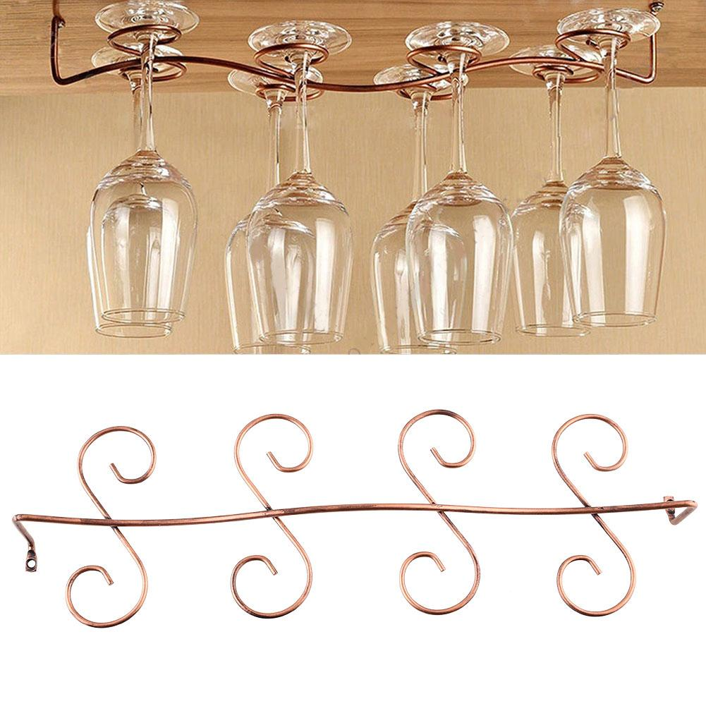 8 wine glass rack stemware hanging under cabinet holder hanger kitchen in wine racks from home. Black Bedroom Furniture Sets. Home Design Ideas