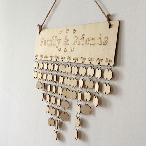 Holz Geburtstag Erinnerung Bord Birke Lagen Plaque Zeichen Familie & Freunde Diy Kalender Modernes Design Kalender