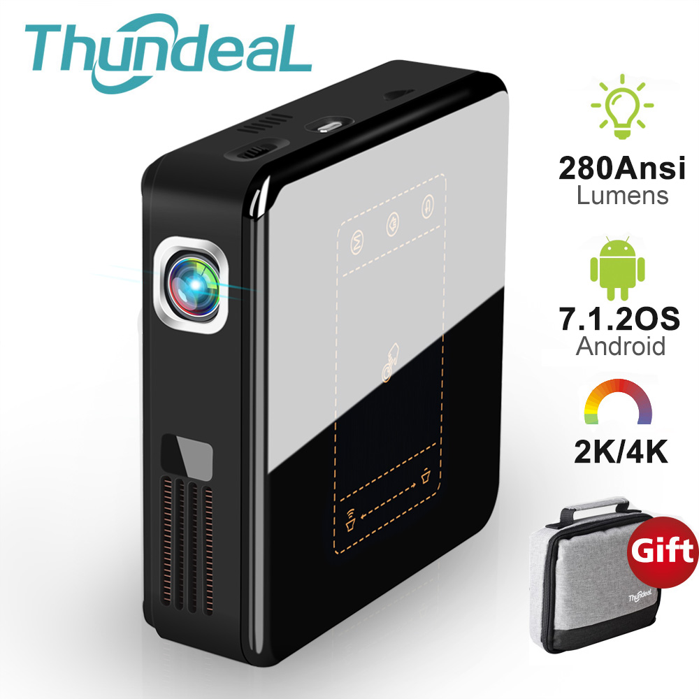 ThundeaL T20 DLP Projector Android 7 Mini LED WiFi T5 Projector Bluetooth 2K 4K 3D Portable DLP-100 Beamer Battery Home Theater image