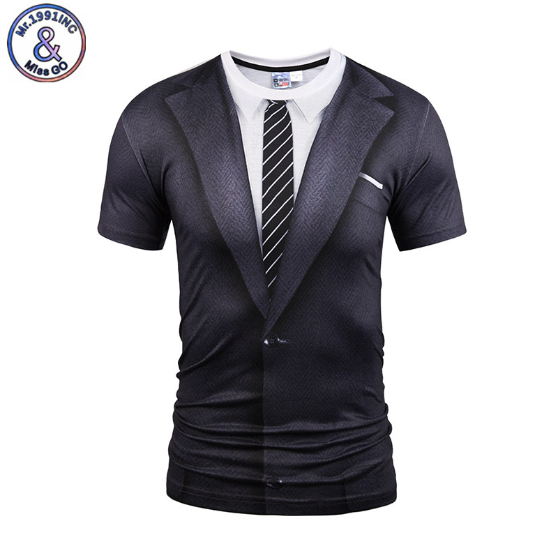 Mr.1991INC Summer Men Clothing 3D Print T shirt Summer Tops Short Sleeve Funny Casual Tshirt Black Tie Tee Shirt Plus Size S-3XL(China)