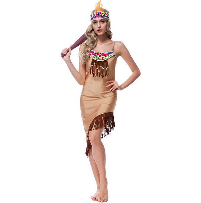 Halloween Cosplay Clothing Indian Tribal Princess Dress 2018 New Adult Girls Masquerade Indigenous People Cosplay Costume M-XL