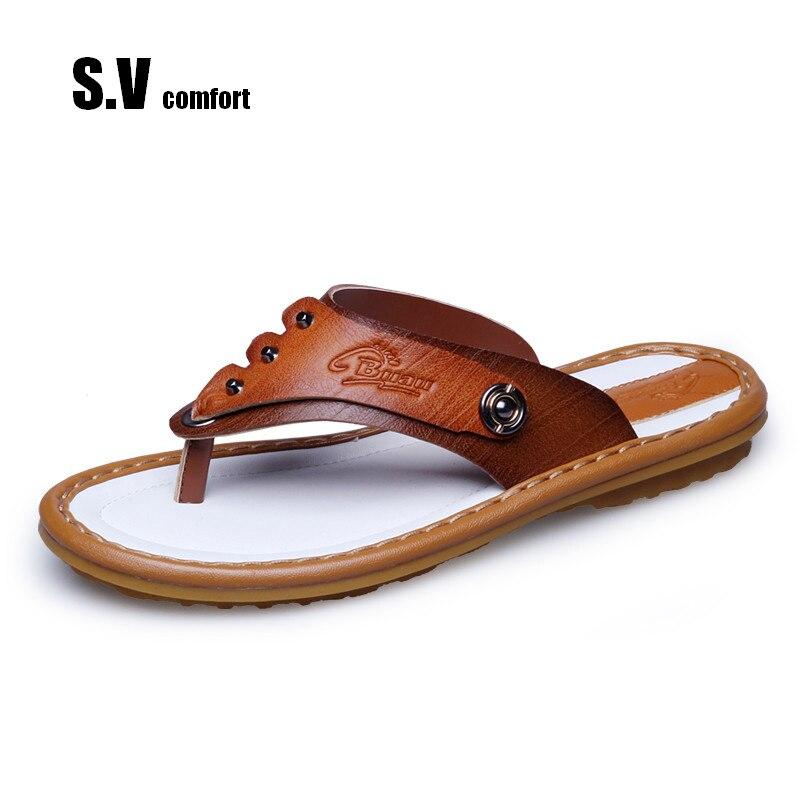 f2b9b2acdf4cc1 Mens Leather Sandals Shoes Men Flip Flops Slipper Sandalias Hombre Platform  Sandal Beach Summer Schuhe SV Comfort