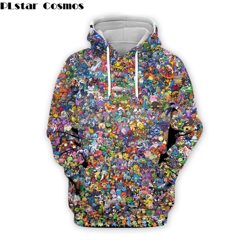 PLstar Cosmos Harajuku Style Men Hoodies 90s Cartoon Pokemon Collage 3d Print Unisex Hoodie Streetwear Casual Hooded Sweatshirt