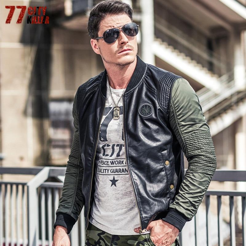 77 город убийца плиссированные военный летчик куртки Для мужчин Лоскутная Кожа стоять воротник Курточка бомбер Для мужчин Повседневное ВВС ...