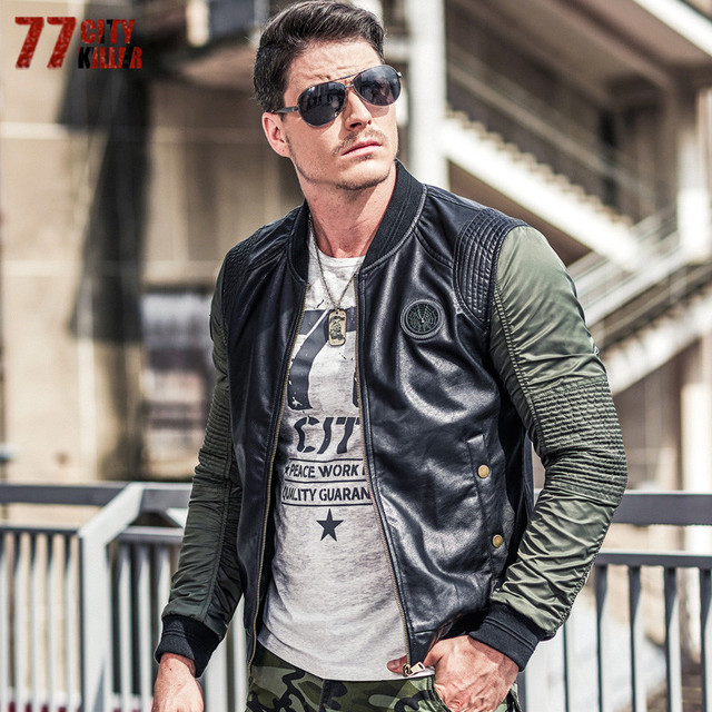 a51f03339 US $51.69 19% OFF|77City Killer Pleated Military Pilot Jackets Men  Patchwork Leather Stand Collar Bomber Jacket Men Casual Air Force Flight  Jacket-in ...
