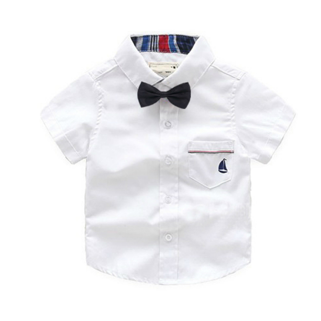 2018 New Design Boy's Shirt Fashion High Quality Casual Short Sleeve Turn-down Collar With Tie Cotton Soft Shirt kid Clothing