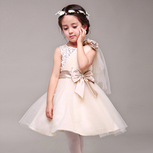 New Children's Wedding Flower Princess Girls Korean Champagne Dress Performance Party Kids Clothing