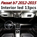 13 pcs X frete grátis Livre de Erros acessórios LED Interior Luz Kit Pacote para vw Passat b7 2012-2015