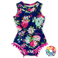 Bebé Muchachas de la Impresión Floral de Color Azul Violáceo Mamelucos Uno-pedazos con Diademas Verano Niño Ropa de Bebé