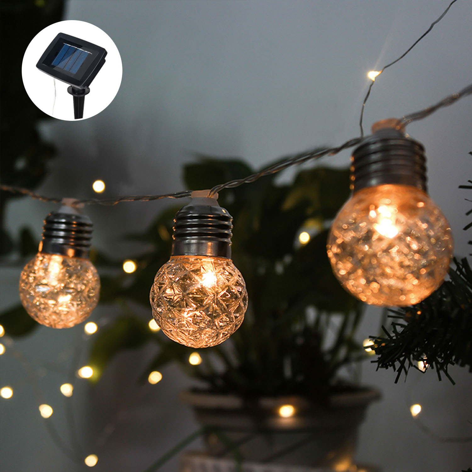 Solar Powered Globe String Light Bulbs Waterproof For