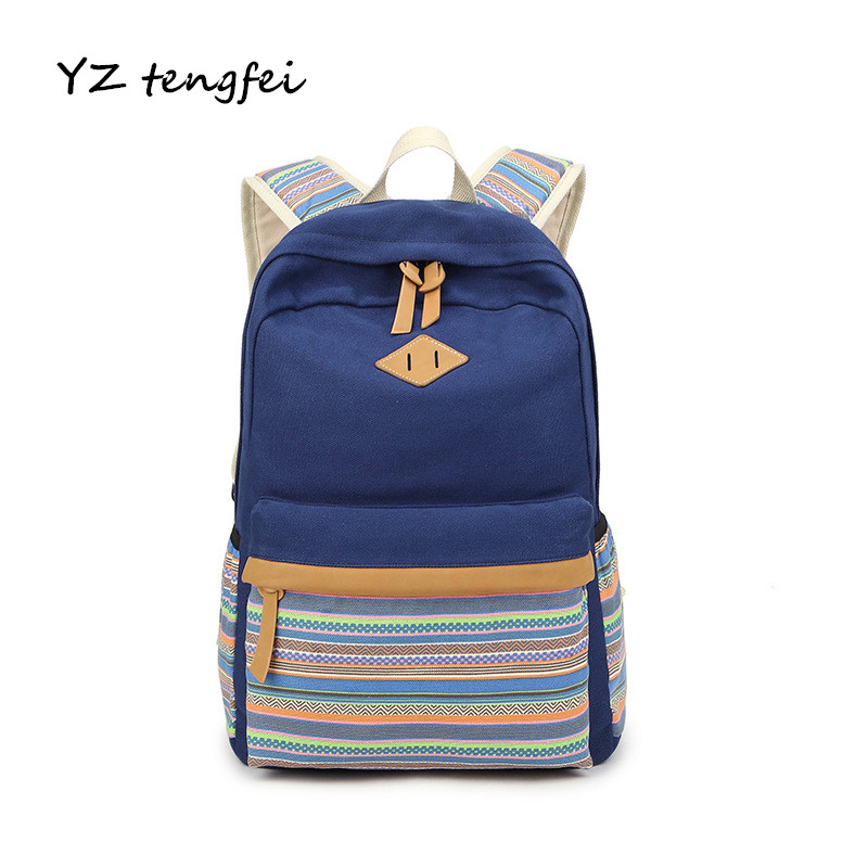 2017 Women Backpack For School Teenagers Girls Casual Travel Bag Vintage Style School Bags Ladies Canvas Shoulder Bags