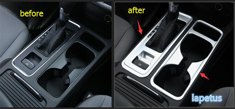 For Ford Kuga / Escape 2017 2018 ABS Chrome Gear Shift Box Panel & Water Cup Holder Decorative Molding Cover Trim