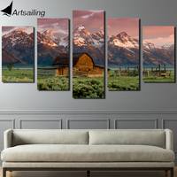 Canvas Art Printed Barn Rocky Mountains Painting Canvas Print Room Decor Print Poster Picture Canvas Free