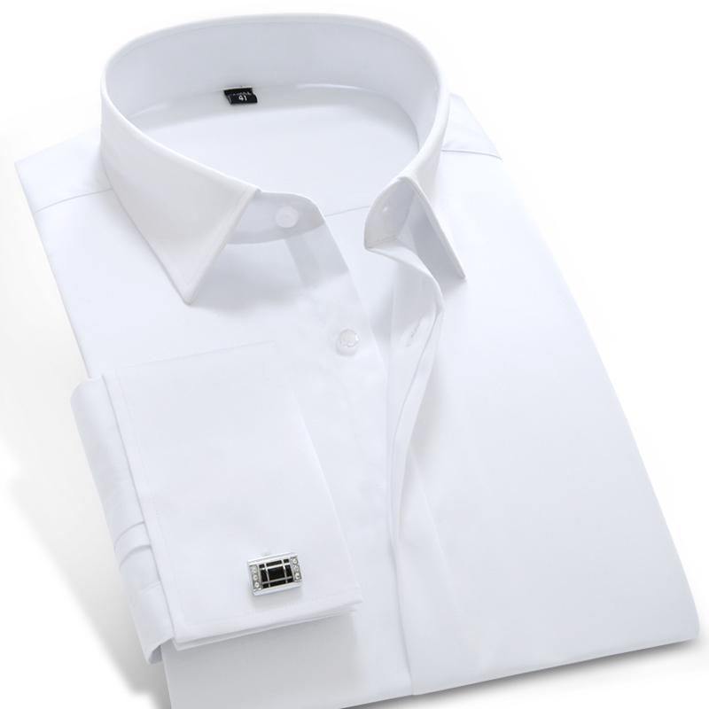 2017 Mens Long Sleeve French Cuff Solid Dress Shirt Peaked Collar Cotton Blend Slim Fit Tuxedo