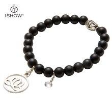 5 colores de piedra natural pulsera de cuentas pulseras plateado charms lotus chakra yoga yoga mujer hombre joyería pulseira pulsera