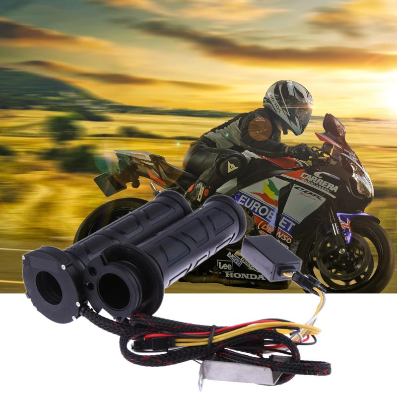 Motocicleta empuñaduras de calefacción eléctrico modificado termostato acelerador agarre del manillar para KTM Honda Yamaha Suzuki Moto Grip negro
