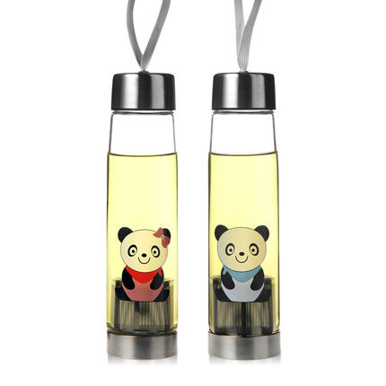 2017 portable thickened Glass bottles home heat-resistant bottle creative water kettle Cute panda pattern fashion travel bottle