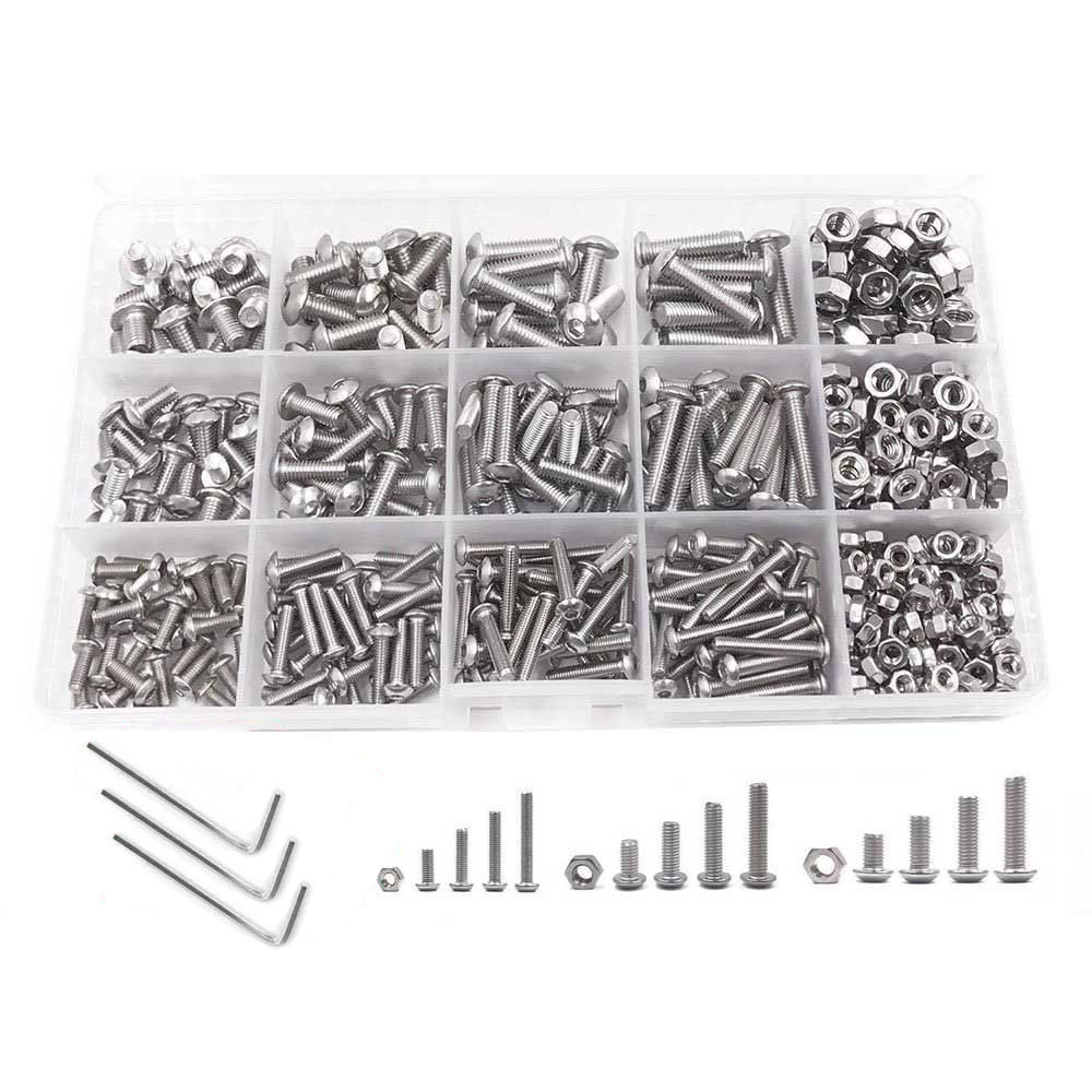 Screw and Nut Kit Machine Screw Nuts Kit 500 Pcs M3 M4 M5 Stainless Steel Button Head Hex Socket Head Cap Button Head Bolts Sets stainless steel button head screw hex socket bolts type m3 3mm bolt size m3 x 20mm your pack quantity 30