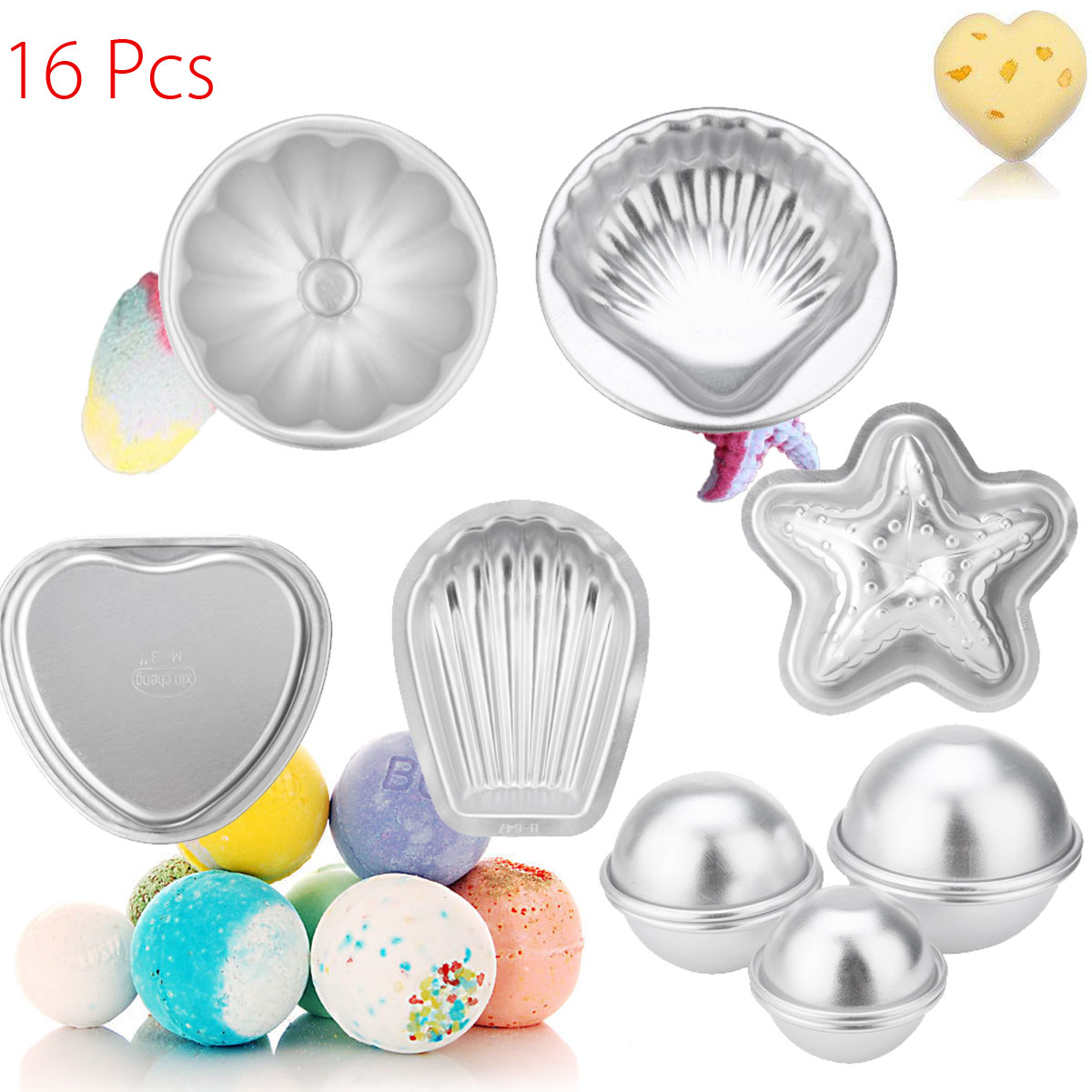 Xueqin 16Pcs Aluminum Metal Bath Bomb Mold Mould For DIY Own Fizzles Homemade CraftingXueqin 16Pcs Aluminum Metal Bath Bomb Mold Mould For DIY Own Fizzles Homemade Crafting