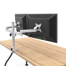 Aluminum Alloy Full Motion Dual Monitor Mount Holder Stand with Cable Management Free Lifting Retractable Bracket