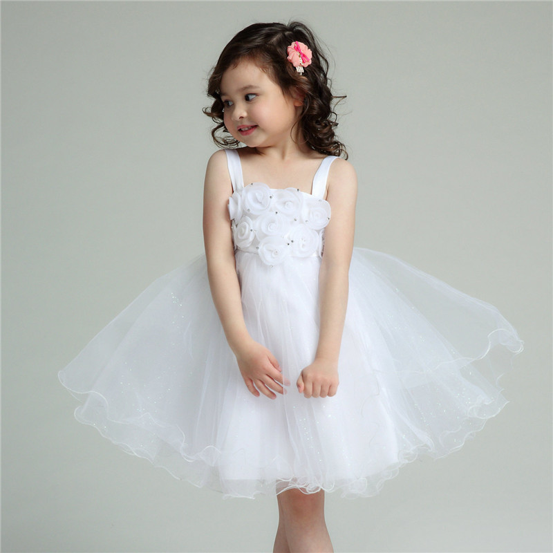 Formal Flower Girl Dresses Children White Eleghant Princess Vestidos 2017 Kids Clothes For Girls Of 8 9 10 11 12 Years AKF164060 gril flower dress multi storey white clothes stage girl performance children show clothes for dance with a pair of glove