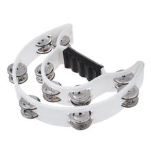 5X Double Row Jingles Half Moon Musical Tambourine Percussion Drum White Party KTV