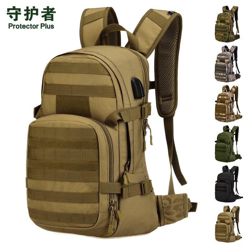 Nylon imperméable 1000D équitation en plein air militaire Molle sac à dos sac à dos équitation voyage ordinateur portable USB jack 25L sac à dos sac à dos