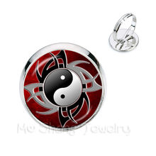 Vintage Yin Yang แหวน Black White Cross Tai Ji แก้ว(China)