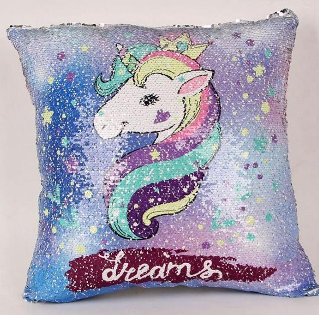 Unicorn Sequin Pillow Cushion Cover Glitter Mermaid Fairy Tale Throw