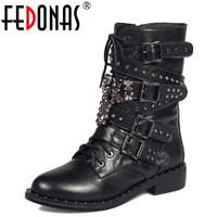 FEDONAS Fashion Autumn Winter Handmade Punk Genuine Leather Warm Snow Boots Motorcycle Boots Women Mid Calf