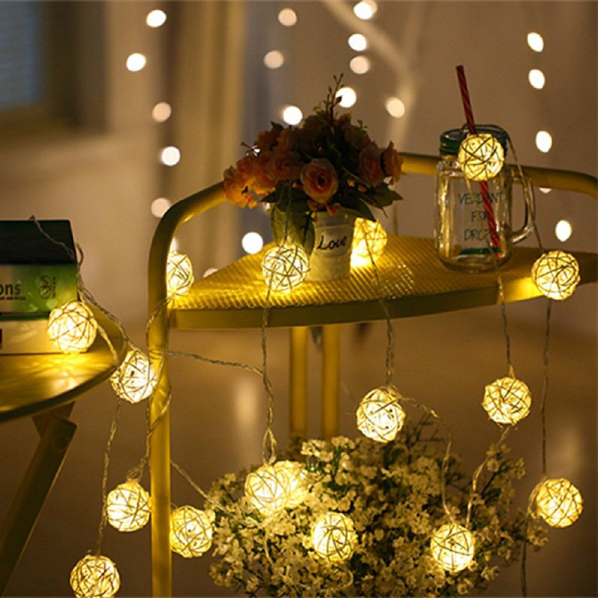 1m 10leds 2m 20leds Warm White Rattan Balls Led Fairy String Lights Battery Operated Outdoor Christmas Patio Wedding Garland