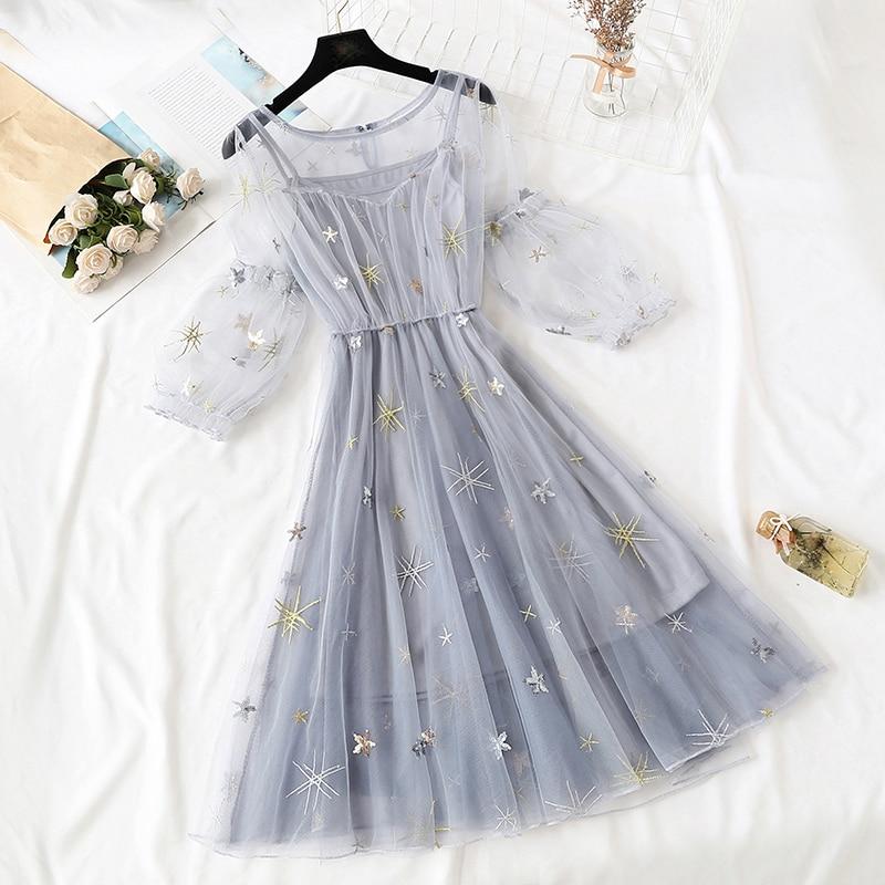Elegant Style embroidery Mesh Lace Dress Sequined Sweet Summer Dress 2019 New Women Dresses Tulle Dress Vestidos Robe Femme