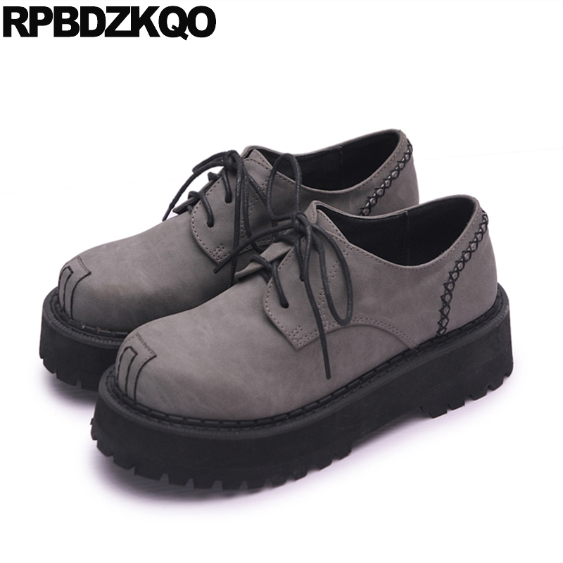 Lace Up Women Muffin Platform Suede Elevator Thick Sole Gray Harajuku Creepers Shoes Oxfords Flats Footwear Fashion Beautiful women harajuku cartoon lace up wedges platform shoes 2015 casual shoes trifle thick soled graffiti flat shoes ladies creepers
