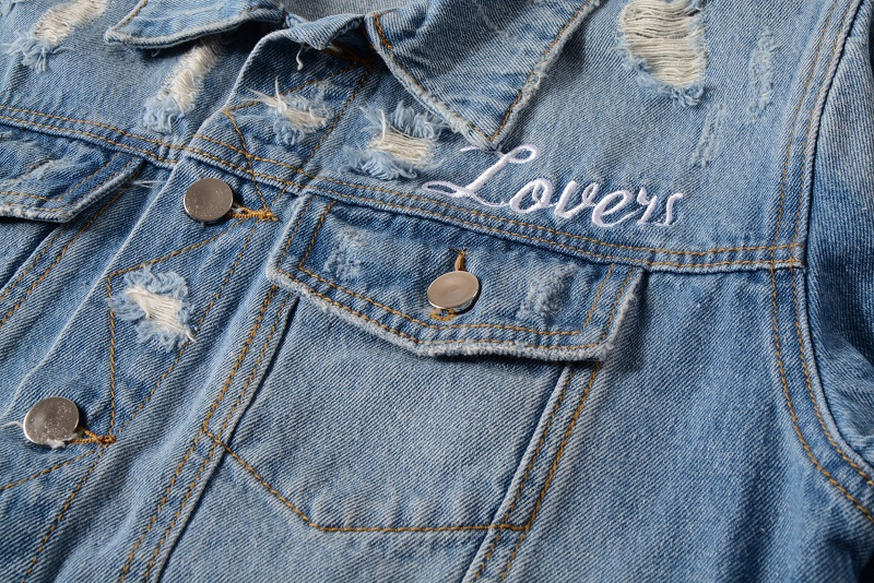 Mens Distressed Embroidery Skull Heart  Biker Blue Denim Jacket   2